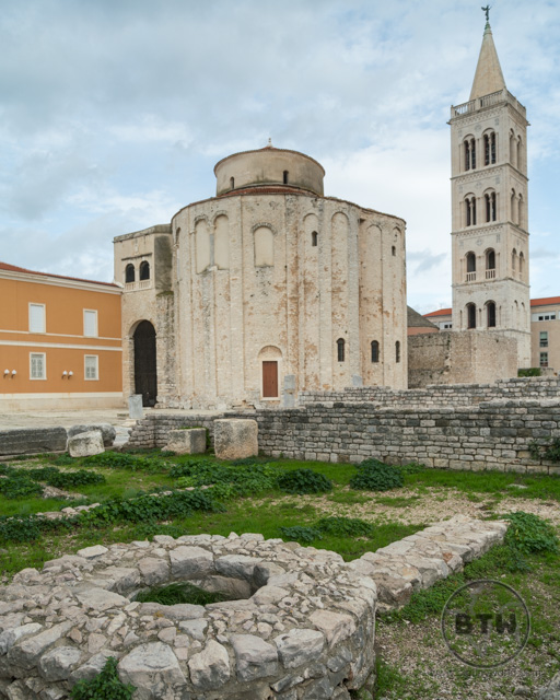 The Church of Saint Donatus, bell tower, and forum in Zadar, Croatia
