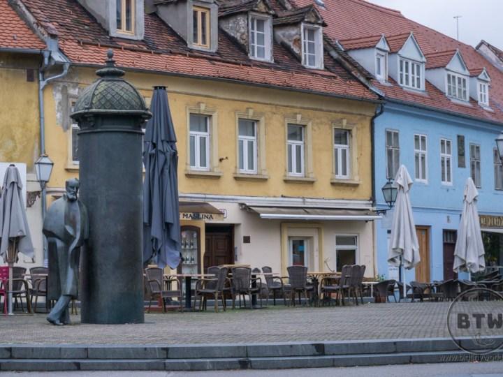 A statue in the plaza of Zagreb, Croatia