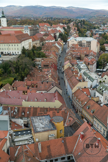The view of a narrow street from the Zagreb 360 building in Zagreb, Croatia