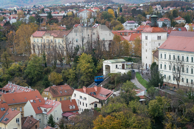 The funicular as seen from the Zagreb 360 building in Zagreb, Croatia