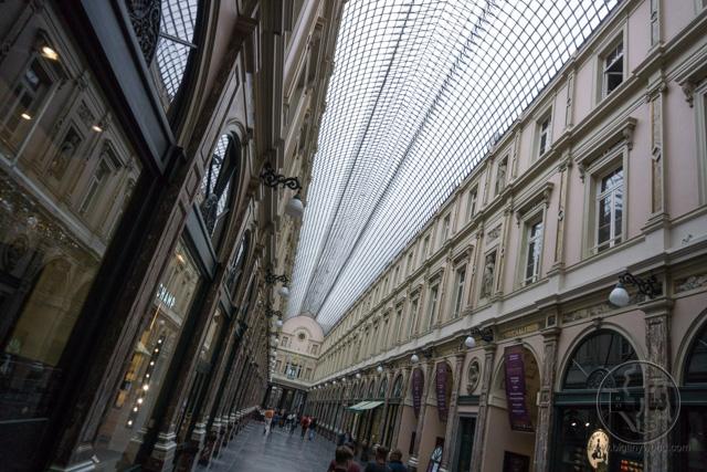 An indoor shopping street in Brussels, Belgium
