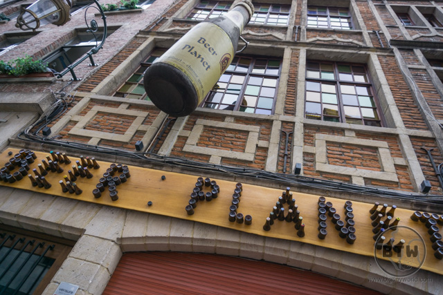 The front of a bar, Beer Planet, in Brussels, Belgium
