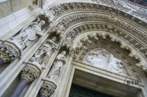 Details of a doorway on the cathedral in Zagreb, Croatia