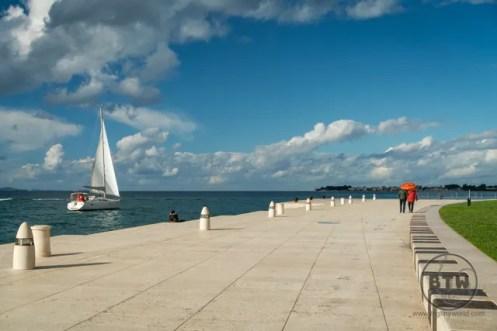 A sailboat at the waterfront in Zadar, Croatia