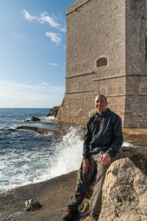 Aaron in front of a wave on the south bay at Dubrovnik, Croatia