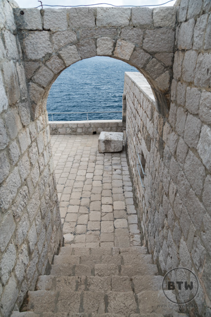 Stairs at the fortress in Dubrovnik, Croatia