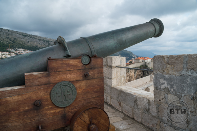 A cannon at the fortress in Dubrovnik, Croatia