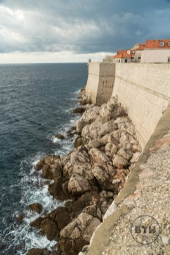 Looking down at the ocean from the wall in Dubrovnik, Croatia