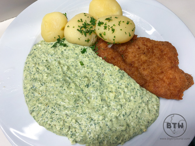 A schnitzel with green sauce in Frankfurt, Germany