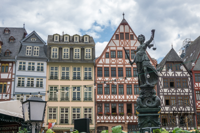 A statue in the main square in Frankfurt, Germany