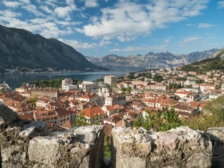 The view of Kotor, Montenegro, from atop the hill