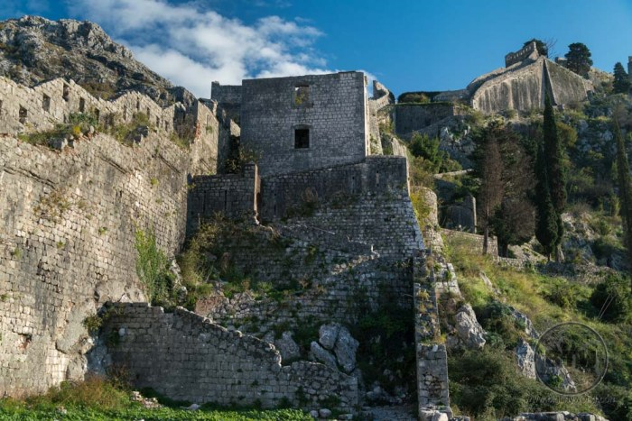 The Kotor fortress ruins in Montenegro