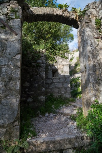 An arched walkway in the Kotor fortress ruins in Montenegro