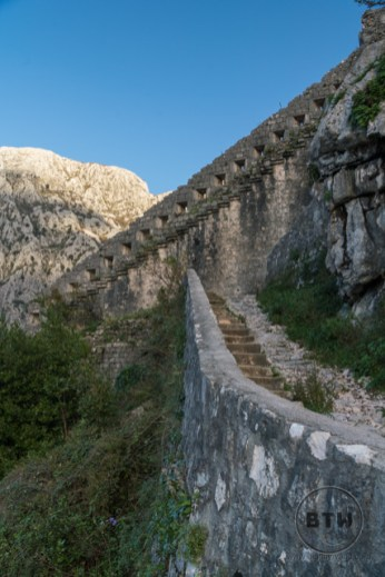 Steps and a wall of the Kotor fortress ruins in Montenegro