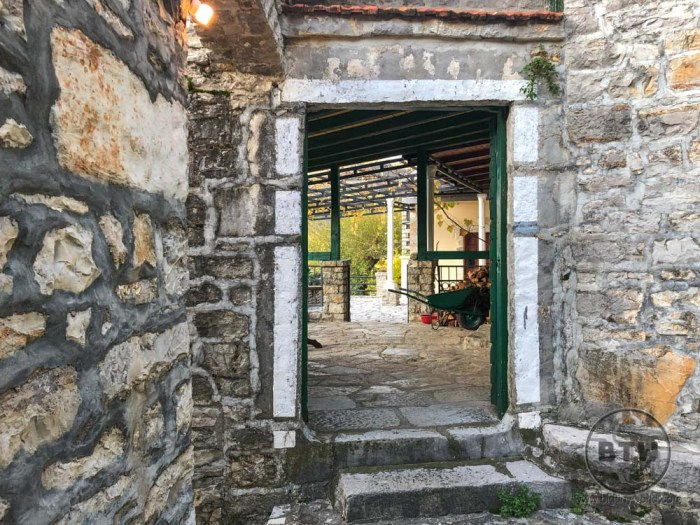 The front patio of the stone house we stayed in in Montenegro