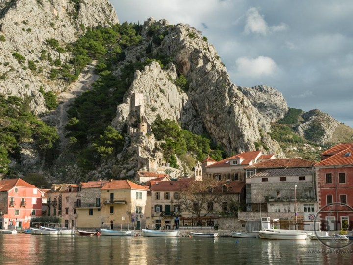 The rocky cliff and fortress behind Omis, Croatia