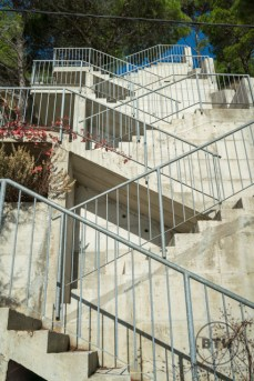 A set of stairs in a cliff wall near a hostel in Omis, Croatia