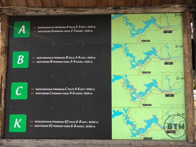 Navigation sign at Plitvice Lakes National Park, Croatia