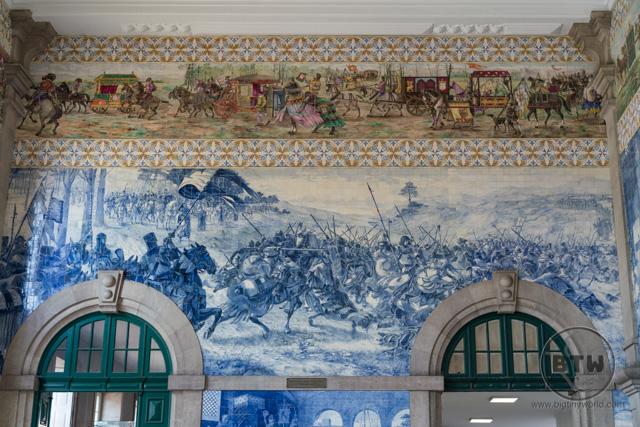 The train station artwork in Porto, Portugal