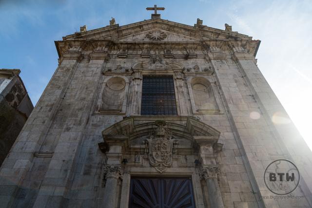 A sunny view of a church in Porto, Portugal