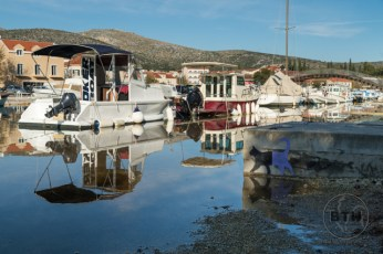 High water along a canal in Trogir, Croatia