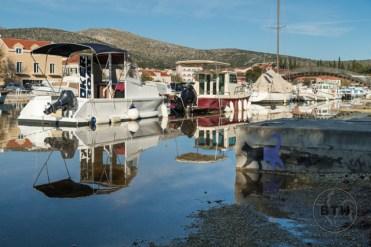 High water along a canal in Trogir, Croatia