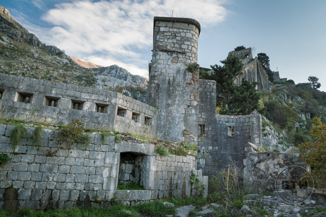 The ruins of the Fortress of St. John in Kotor, Montenegro