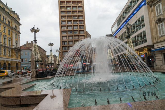 A fountain in a plaza in Rijeka, Croatia