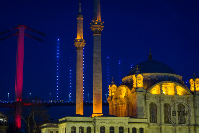 Ortakoy Mosque Evening Lights Istanbul