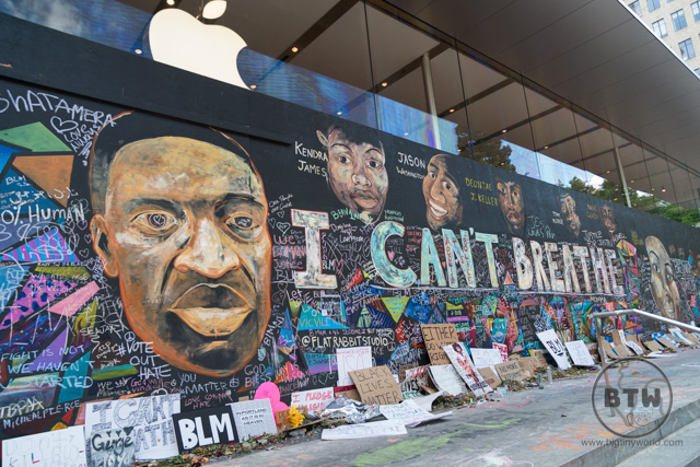 Protest wall art from the Black Lives Matter movement in Portland, Oregon
