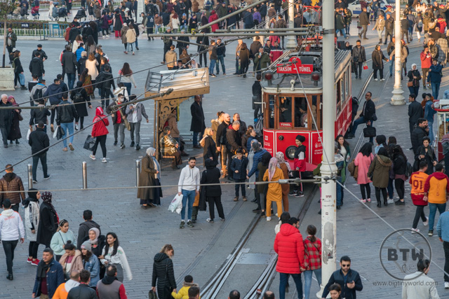 An overhead look at busy Taksim Square in Istanbul, Turkey