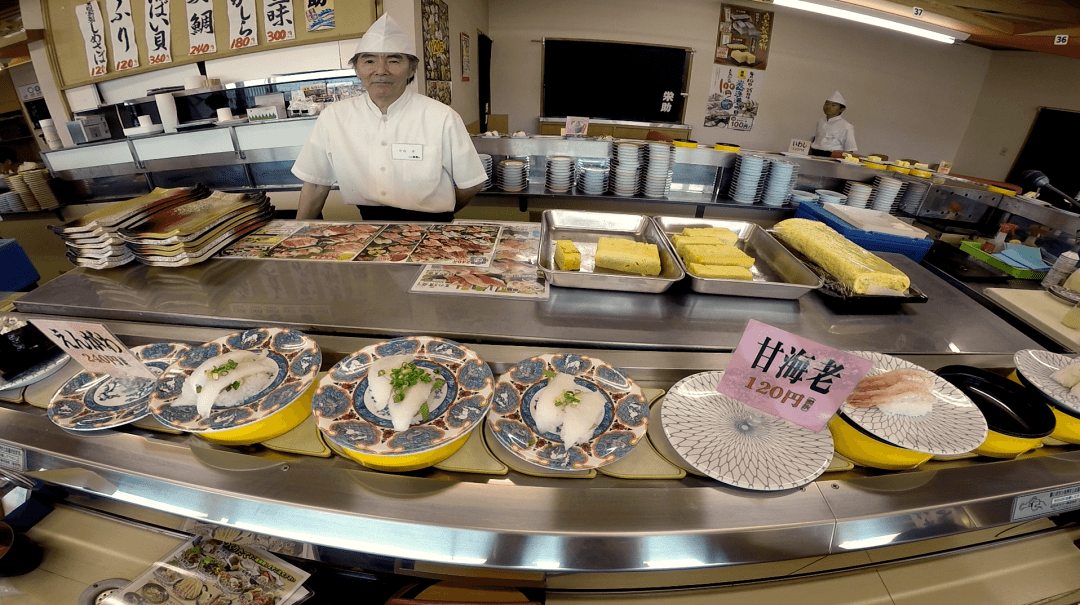 Eating Food In Japan - Conveyor Belt Sushi Restaurant Akita Japan