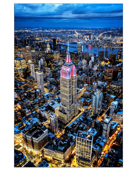 Gigantic Big Biggest Massive Huge Large Largest Giant Wall Décor Art Backlit Fabric Home Deco Artwork Artist New York City Street Icon Aerial Scenic Peter Alessandria Aerial New York City Empire State Lights Street