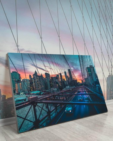 Biggest Wall Decor New York Huge Art Massive Gigantic Big Large Largest Giant Wall Décor Art Backlit Fabric Home Deco Artwork Artist New York City Street Icon Portrait Scenic Photographer Nick Ford Nick40V Brooklyn Bridge City Traffic Water