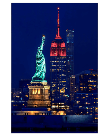 Gigantic Big Biggest Massive Huge Large Largest Giant Wall Décor Art Backlit Fabric Home Deco Artwork Artist New York City Street Icon Aerial Scenic Peter Alessandria New York City Empire State Statue of Liberty