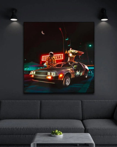 Big neon space astronaut Wall Art Huge Decor Prints