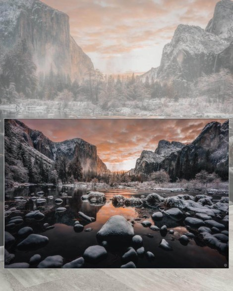 Gigantic Wall Decor Big Biggest Massive Huge Large Largest Giant Wall Décor Art Backlit Fabric Home Deco Artwork Artist landscape street city nature Scenic Photographer Scott Wilson Yosemite National Park California Water Mountains Reflection