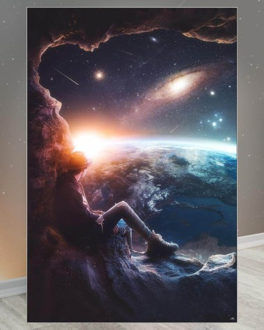 Oversized Wall Art Surreal Decor Big Biggest Huge Large Massive Largest Giant Gigantic Wall Décor Art Backlit Fabric Home Deco Artwork Artist Marco Zagara Surreal Digital Mystic Futuristic Instagram Surreal Digital Space Earth Sun Man Planets