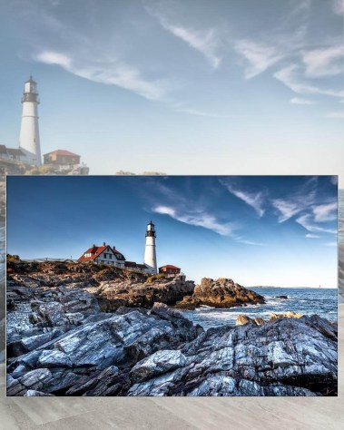 Gigantic Big Biggest Massive Huge Large Largest Giant Wall Décor Art Backlit Fabric Home Deco Artwork Artist New York City Street Icon Aerial Scenic Peter Alessandria Lighthouse Rocks
