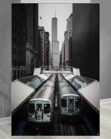 Oversized Wall Decor Gigantic Big Biggest Massive Huge Large Largest Giant Wall Décor Art Backlit Fabric Home Deco Artwork Artist landscape street city nature Scenic Photographer Scott Wilson Chicago Big City Trains Skyline
