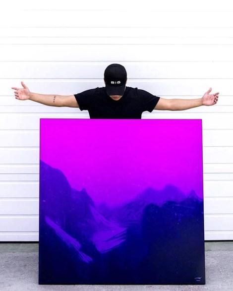 Big Abstract Purple Wall Art Huge Decor Prints