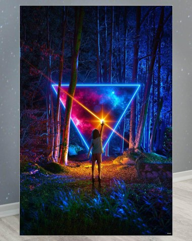 Huge Fantasy Wall Decor Large Oversized Giant Huge Large Big Biggest Massive Gigantic Wall Art Décor Backlit Fabric Lightbox Home Deco Artwork Colorful Surreal Digital Illustrator Futuristic Neon Rainbow Space Artist Think Lumi Thinklumi Instagram Astronaut Galaxy Space Futuristic Future