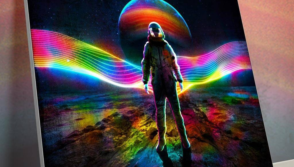 Oversized Astronaut Art Decor Large Oversized Giant Huge Large Big Biggest Massive Gigantic Wall Art Décor Backlit Fabric Lightbox Home Deco Artwork Colorful Surreal Digital Illustrator Futuristic Neon Rainbow Space Artist Think Lumi Thinklumi Instagram Astronaut Galaxy Space Futuristic Future