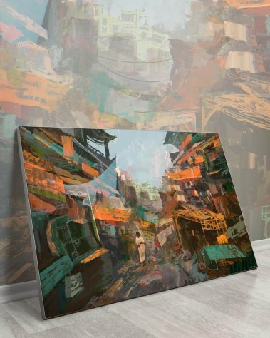 Large wall decor. Man Walking the streets surrounded by orange and green tones