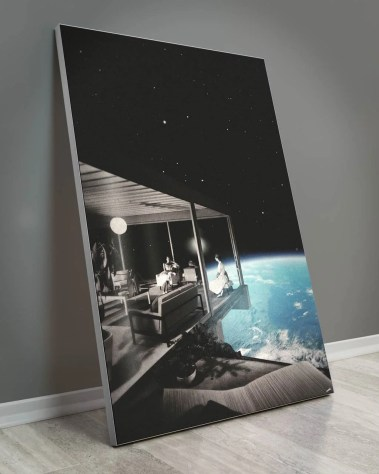 Huge living room looking over earth wall decor