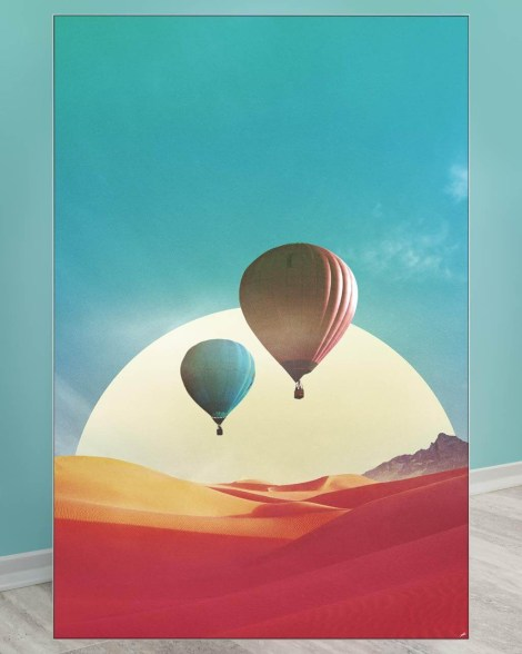Oversized Surreal Wall Decor with Hot Air Balloons at the Desert