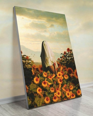 Huge Surreal Wall Decor by Fran Rodriguez. Draped person walking through a field of sun flowers