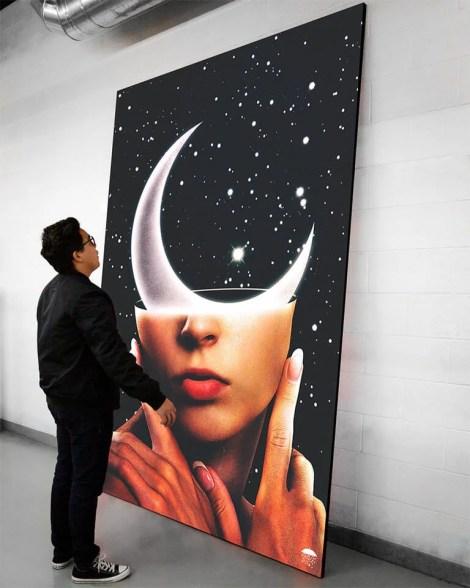 Big Surreal Moon Space Wall Art Huge Decor Prints