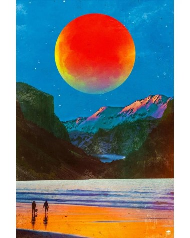 Big Surreal Red Moon Space Wall Art Huge Decor Prints