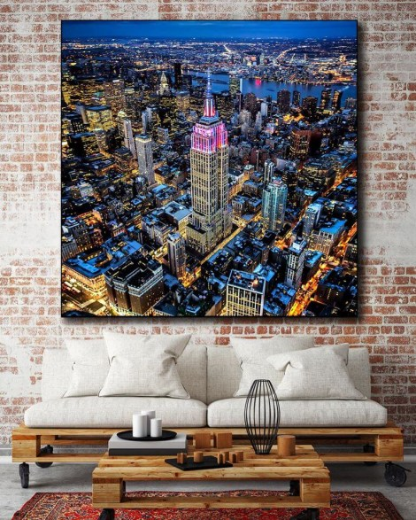 Large Blue Skyline Wall Art Huge Decor Prints